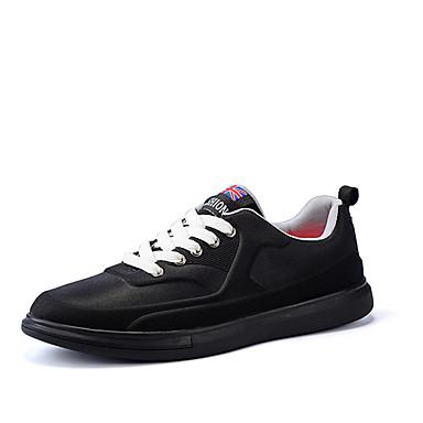 Férfi cipő PU Tavasz Ősz Kényelmes Tornacipők Fűző mert Hétköznapi Fekete Kék Fekete/fehér Burgundi vörös