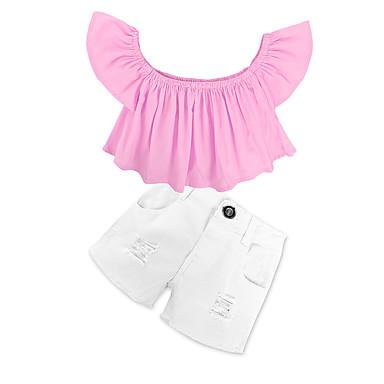 0db0e6eaaa2f85 Toddler Girls  Dresswear Solid Colored Short Sleeve Regular Regular Cotton  Clothing Set Pink