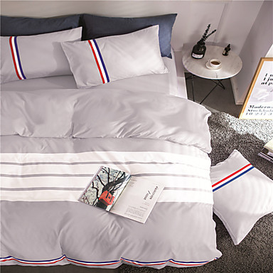 Duvet Cover Sets Solid Colored Polyester Reactive Print 4 Piece / 300 / 4pcs (1 Duvet Cover, 1 Flat Sheet, 2 Shams)