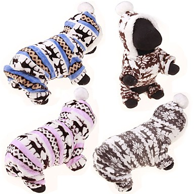 Dog Sweater Hoodie Jumpsuit Winter Clothing Dog Clothes Reindeer Gray Coffee Blue Pink Leopard Cotton Costume For Pets Casual/Daily