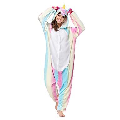Adults' Kigurumi Pajamas Unicorn Onesie Pajamas Costume Flannel Toison Pink Cosplay For Animal Sleepwear Cartoon Halloween Festival / Holiday / Christmas