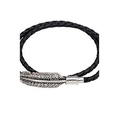 Men's / Women's Leather Bracelet / Magnetic Bracelet - Leather Feather Personalized, Vintage Bracelet Black / Brown For Casual / Going out