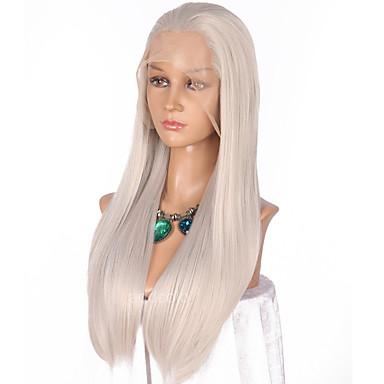 Szintetikus csipke front parókák Egyenes Szintetikus haj Természetes hajszálvonal Szürke Paróka Női Hosszú Csipke eleje