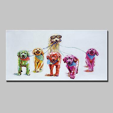 Hang festett olajfestmény Kézzel festett - Állatok Absztrakt Modern Vászon