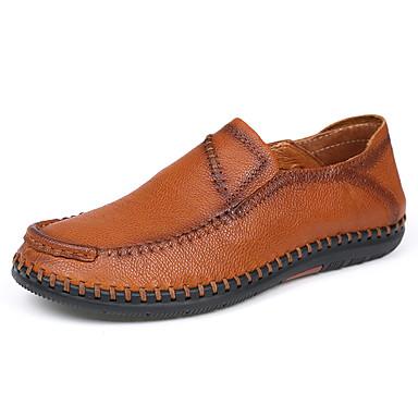 Férfi cipő Bőr Nappa Leather Tavasz Ősz Kényelmes Papucsok & Balerinacipők mert Hétköznapi Party és Estélyi Fekete Barna