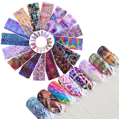 16 pcs Full Nail Stickers Foil Sticker nail art Manicure Pedicure Fashionable Design Glamorous Glitter / Animal Design Daily / Casual / Daily