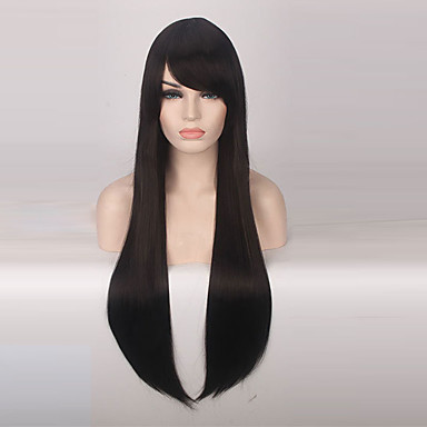 Synthetic Wig Straight Synthetic Hair Black Wig Women's Long Capless