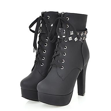 rond Lacet à Hiver Rivet Confort Automne Chaussures Demi Bout Mode Femme 06318389 Botte la Nouveauté Bottine Bottes Polyuréthane Bottes wqBSnR7
