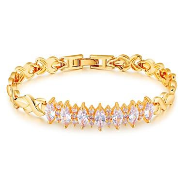 Női Kocka cirkónia Cirkonium Arannyal bevont Imádni való Luxus Lánc & láncszem karkötők - Luxus Alap Divat Line Shape Arany Karkötők