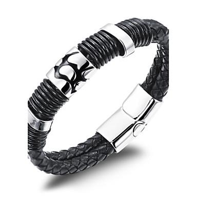 Men's, Boys' Jewelry Cuff Bracelet, Bracelet - Leather Black