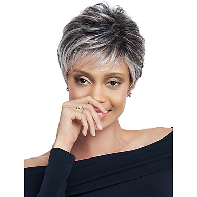 Synthetic Wig Loose Wave Synthetic Hair Dark Roots Gray Wig Women's Short Capless