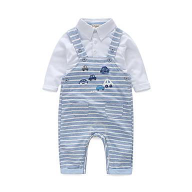 Baby Boys' Cotton Daily Stripe Clothing Set, Cotton Spring/Fall Stripes Long Sleeves White