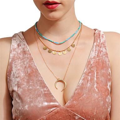 Női Többrétegű MOON Rövid nyakláncok Nyaklánc medálok  -  Szexi Többrétegű Arany Nyakláncok Kompatibilitás Parti Napi