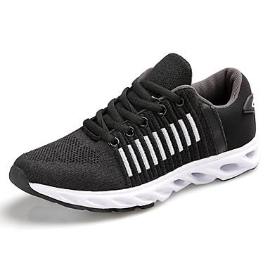 Férfi cipő Lélegző háló PU Tél Ősz Kényelmes Sportcipők Futócipő Fűző mert Hétköznapi Szabadtéri Fekete Stétszürke Sötétzöld