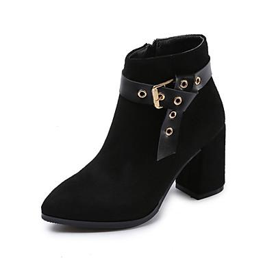 Damen Schuhe PU Winter Herbst Modische Stiefel Stiefel Blockabsatz Runde Zehe Bommel für Normal Schwarz Braun
