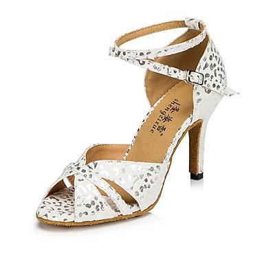 c240e354c03 Shall We® Women s Flocking Sandal   Heel   Sneaker Polka Dot Stiletto Heel  Customizable Dance Shoes White   Blue   Indoor