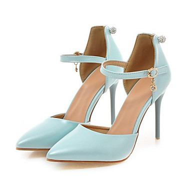 Women's Shoes PU(Polyurethane) Spring / Fall Comfort / Novelty Heels Stiletto Heel Pointed Toe Buckle / Hollow-out Beige / Blue / Pink