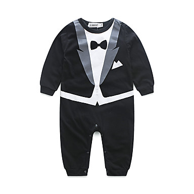 Baby Boys' Dresswear Solid Color Long Sleeve Cotton Overall & Jumpsuit