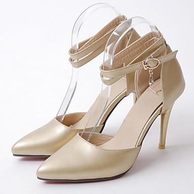 ราคาถูก รองเท้าส้นสูงผู้หญิง-สำหรับผู้หญิง PU ตก / ฤดูหนาว ความสะดวกสบาย / ความแปลก รองเท้าส้นสูง ส้น Stiletto Pointed Toe หัวเข็มขัด สีทอง / สีดำ / สีเงิน / พรรคและเย็น / แต่งตัว / 3-4 / พรรคและเย็น