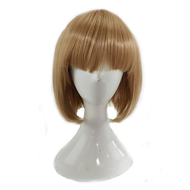 Synthetic Wig Straight Blonde Bob Haircut Synthetic Hair Blonde Wig Women's Medium Length Capless