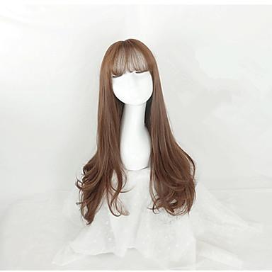 Hullámos Sűrűség Sapka nélküli Női Barna Híres parókát Hosszú Szintetikus haj