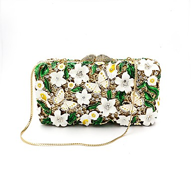 Women's Bags Metal Evening Bag Appliques / Crystals Army Green / Rhinestone Crystal Evening Bags / Rhinestone Crystal Evening Bags