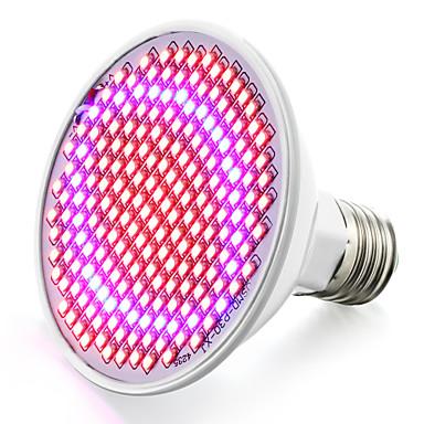 6.2W 800-850lm E26 / E27 Voksende lyspære 200 LED perler SMD 2835 Blå Rød 85-265V