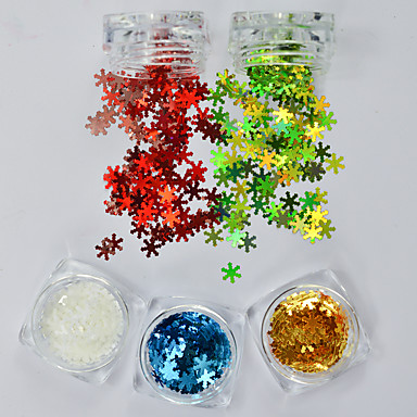 5pcs/set Glitter Powder Nail Jewelry Sequins Luxury / Sequins / Christmas nail art Manicure Pedicure Christmas / Party / Daily Snowflake / Sparkle & Shine / Christmas