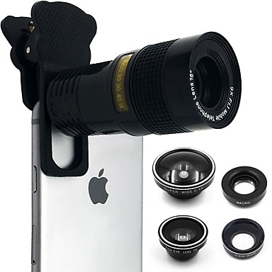 Mobile Phone Lens Fish-Eye Lens / Long Focal Lens / Wide-Angle Lens Glass 10X Macro iPad / iPhone / Samsung