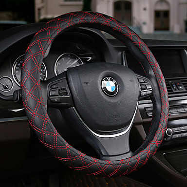 Steering Wheel Covers Leather 38cm Black / Beige / Coffee For universal All years