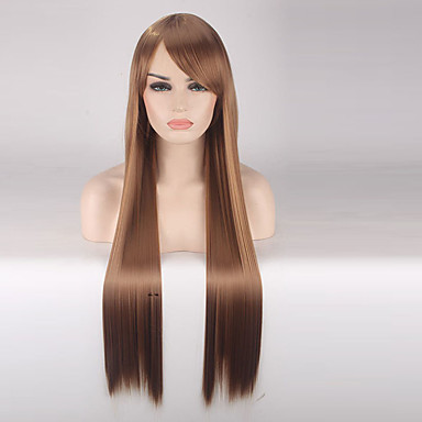 Szintetikus parókák Egyenes Sűrűség Sapka nélküli Női Barna Jelmez paróka Hosszú Szintetikus haj