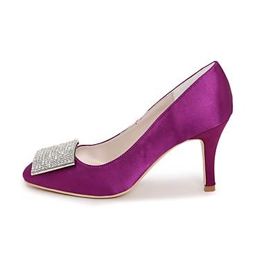Escarpin Talon Strass 06198717 Basique Bout de mariage Chaussures Chaussures Printemps Aiguille Femme Eté Ivoire carré Satin Bleu Champagne UqFCIA