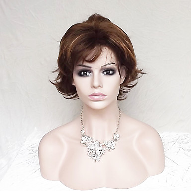 Synthetic Wig Women's Wavy / Natural Wave Brown Bob / With Bangs Synthetic Hair Brown Wig Short Capless Dark Auburn