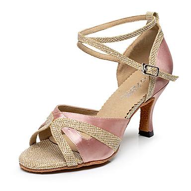 Women's Latin Shoes Silk / Glitter Heel Buckle / Splicing Customizable Dance Shoes Black / Purple / Nude / Indoor