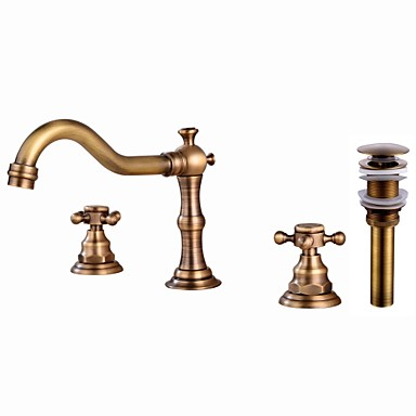 Faucet Set - Widespread Antique Copper Widespread Two Handles Three Holes