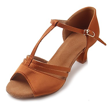 Women's Latin Shoes Satin Sandal / Heel Buckle Cuban Heel Customizable Dance Shoes Brown