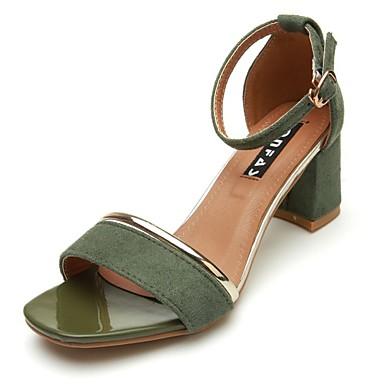 Women's Block Heel Sandals PU(Polyurethane) Spring / Fall Light Soles Sandals Block Heel Open Toe Buckle Black / Army Green / Khaki