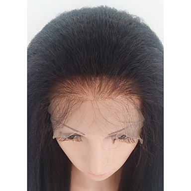 Human Hair Glueless Lace Front / Lace Front Wig Brazilian Hair kinky Straight Wig With Baby Hair 130% African American Wig / 100% Hand Tied Women's Medium Length Human Hair Lace Wig