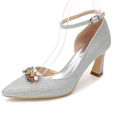 Escarpin de Bottier Bride de Paillette Cheville Talon 06222122 mariage Automne Chaussures Chaussures Printemps Bout Basique Femme pointu wOHSIqAv