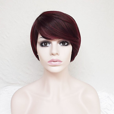 Synthetic Wig Straight Burgundy Asymmetrical Haircut / Short Bob / With Bangs Synthetic Hair Natural Hairline Burgundy Wig Women's Short Capless