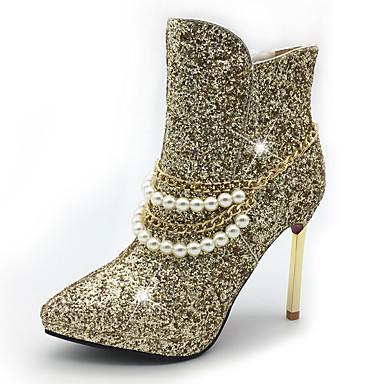 Női Cipő Flitter / Szintetikus / Glitter Ősz / Tél Divatos csizmák / Közepesen magas szárú bakancs Csizmák Tűsarok / Talp Erősített lábujj