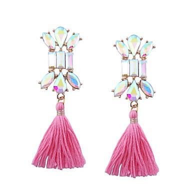 Women's Tassel / Long Stud Earrings - Stainless Steel Cross Tassel, Bohemian, Boho Red / Pink / Royal Blue For Gift / Going out