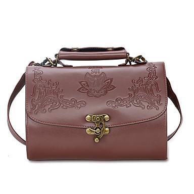 Women's Bags PU Shoulder Bag Flower Black / Brown