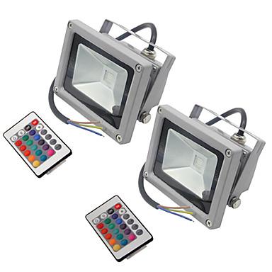 billige Utendørsbelysning-hkv® 10w 900-1000 lm rgb led flomlys cob utvendig spotlight vanntett ip65 led utendørs lys ac85-265v