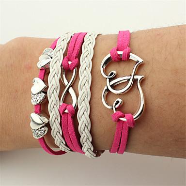 Men's Women's Wrap Bracelet Leather Bracelet - Leather Heart, Infinity Bracelet Red For Christmas Wedding Party