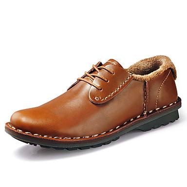Férfi cipő Bőrutánzat Ősz / Tél Kényelmes / Fluff Bélés Félcipők Fekete / Világosbarna / Sötétbarna