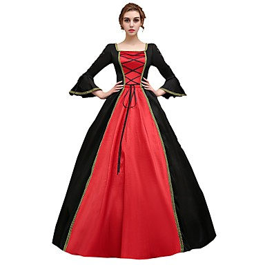 Cosplay Costume / Masquerade Women's Halloween / Carnival / New Year Festival / Holiday Halloween Costumes Red+Black Print / Lace Victorian / Medieval / Renaissance / Satin