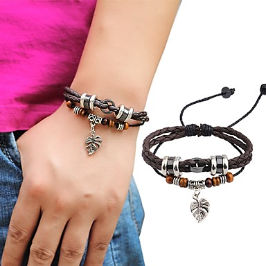 Men's Women's Leather Bracelet Adjustable Handmade Leather Alloy Round Leaf Jewelry Casual Going out