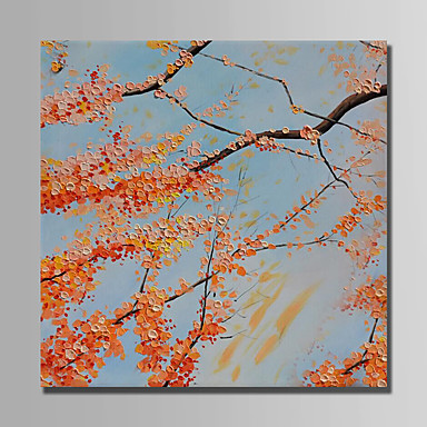 Oil Painting Hand Painted - Floral / Botanical Modern Rolled Canvas