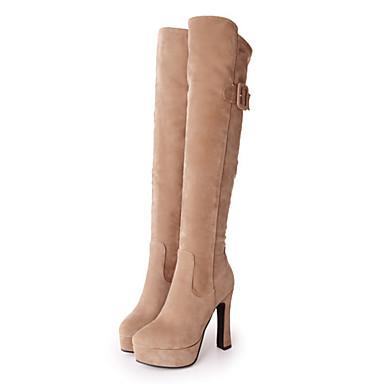 Mujer Zapatos Cuero Nobuck Primavera / Otoño Confort / Innovador / Botas de Moda Botas Tacón Plano Dedo Puntiagudo Hasta la Rodilla Style De Mode De Sortie Acheter Sortie 2HncNI2h